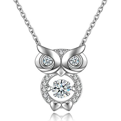 925 Sterling Silver Dancing Crystal Owl Lover Bird Pendant Necklace 18 FI1d4