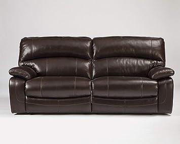 Ashley Furniture Signature Design - Damacio Manual Recliner Sofa - 1 Pull Reclining - Leather interior - Dark Brown