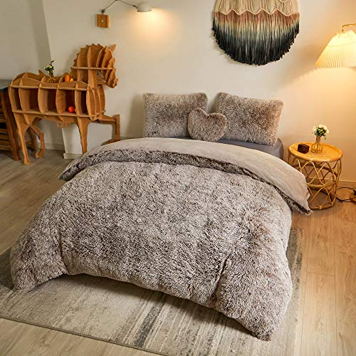 Luxury Shaggy Duvet Cover Set Ultra Soft Faux Fur Fluffy Comforter Set Fuzzy Bedding 3 Pieces(1 Duvet Cover + 2 Pillow Shams),Zipper Closure