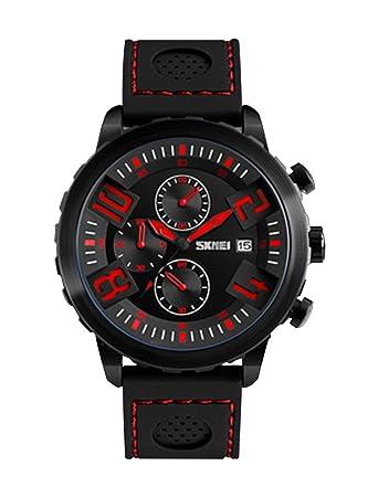 competitive price f2230 8e797 Amazon | 黒 - 赤の大型ダイヤル腕時計メンズクールなユニークな ...