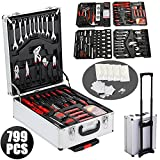 799pcs Hand Tool Set Mechanics Metric Ratchet Wrench Kit Trolley Castors Box