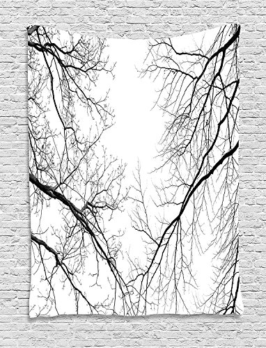 Forest Tapestry, Trees Branches Leafless Spooky Scary Image in a Gloomy Air Sky Scene Image, Wall Hanging for Bedroom Living Room Dorm, 60 W x 80 L Inches, Black and White -