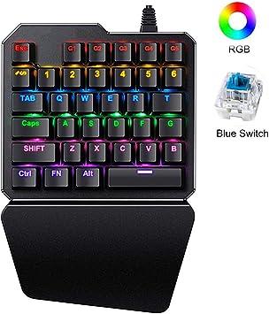 LexonElec K108 Teclado de Juego de una Sola Mano K108 Teclado de Juego con Cable 38 Teclas 3 Colores LED retroiluminado USB Multimedia de una Mano ...