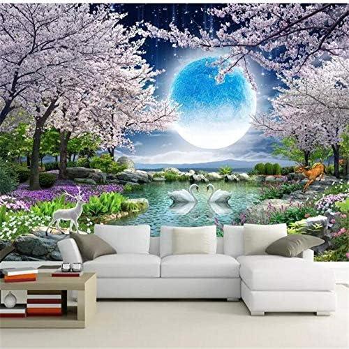 壁紙家の装飾カスタム壁紙月花グッドムーンラウンド桜の風景画テレビ背景壁壁画-350x250cm