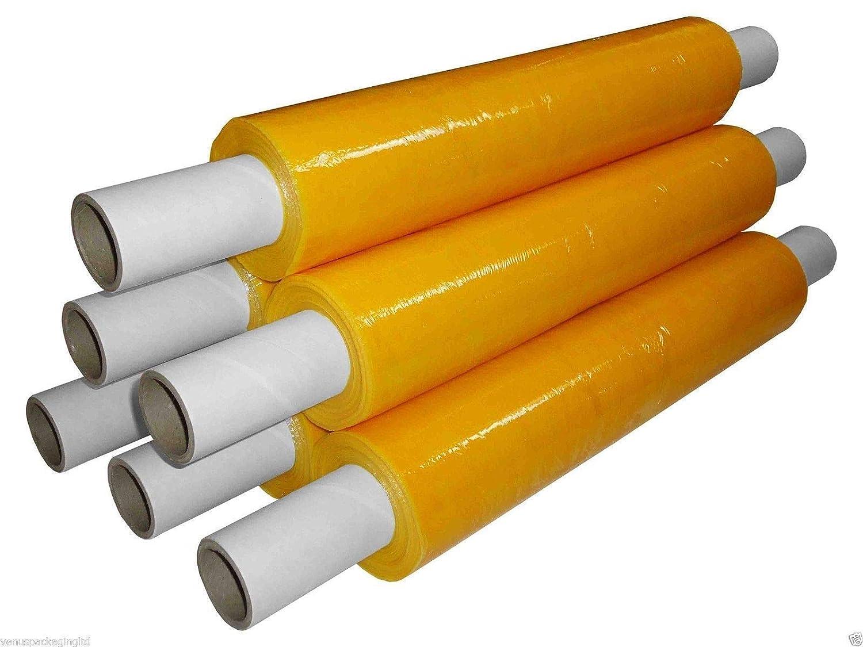 Tezraftaar® Yellow Shrink Wrap Film Pallet Strech Wrap 400mm x 20Micron Extended Core (6) Amico