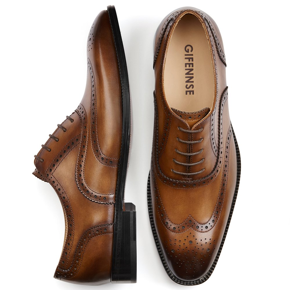 GIFENNSE Men's Handmade Leather Sole Modern Classic Lace Up Leather Lined Perforated Dress Oxfords Shoes (10US/Brown)