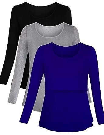 0c3c0c07ec5 PrettyLife Women's Maternity Nursing Tops Long Sleeve Comfy Double Layered  Breastfeeding Shirts 3-Pack (