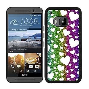 Funda carcasa para HTC One M9 estampado corazones efecto purpurina de colores borde negro