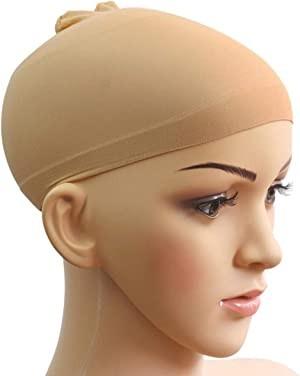LEORX Wig cap Unisex Stocking Wig Hairnet Cap Snood - 2 Pack (Skin Color)