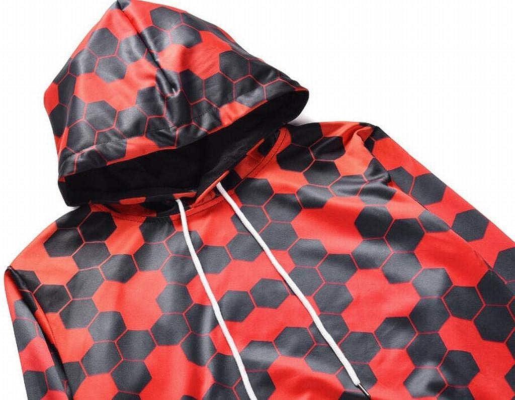 YYG Mens Plus Size Pocket Drawstring Digital Print Relaxed Fit Pullover Hoodie Sweatshirt