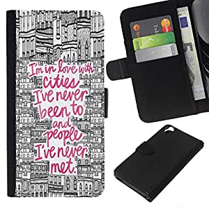 KLONGSHOP // Tirón de la caja Cartera de cuero con ranuras para tarjetas - viajes dibujo ciudad cotización rosa Europa - HTC Desire 820 //