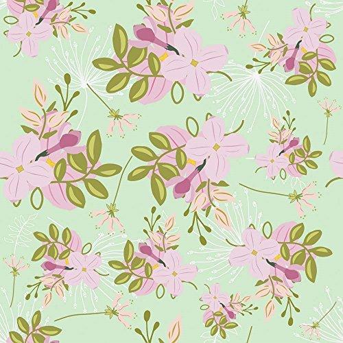 Pink Mint Floral Pattern Tina Lavoie Art Print, 14 x 14 -