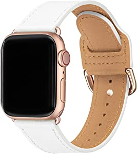 POWER PRIMACY Bands Compatible with Apple Watch Band 38mm 40mm 42mm 44mm, Top Grain Leather Smart Watch Strap Compatible for Men Women iWatch Series 6 5 4 3 2 1,SE(White/Rosegold,38mm/40mm)