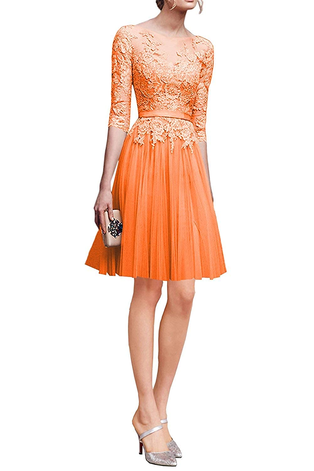 orange ZLQQ Woman's Half Sleeves Tulle Short Bridesmaid Dresses Lace Tea Length Evening Gowns