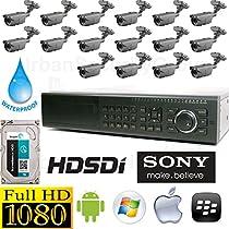 USG Sony Business Grade 1080P 16 Camera HD-SDI CCTV Kit: 1x 16 Channel 1080P HD-SDI DVR + 16x HD-SDI 1080P 2.8-12mm Bullet Cameras + 1x 3TB HDD *** Affordable High Definition CCTV