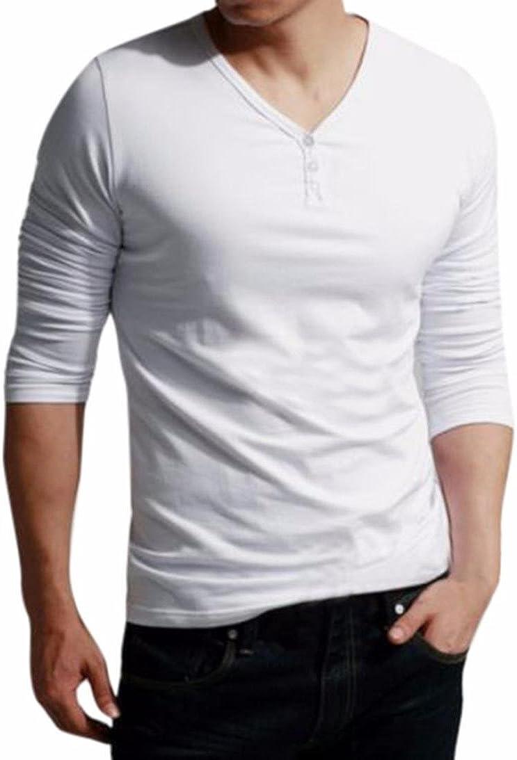 Mens Standing Collar Mens Long Sleeve T-Shirt Pure Blouse Top Palarn Mens Fashion Sports Shirts