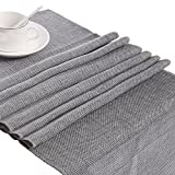 Retro Linen Burlap Natural Jute Table Runner Wedding Event Home Party Table Decor (Grey, 30180cm)
