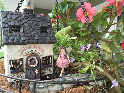Fairy Garden Kit with Fairy Lights: House w/Door That Opens, Enchanted Walkway and Standing Fairy