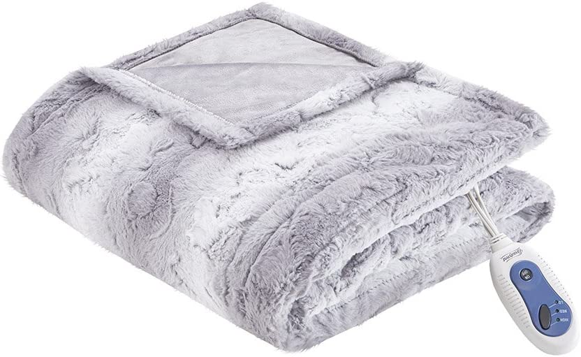 Beautyrest Zuri Oversized Faux Fur Heated Throw Grey 50x70