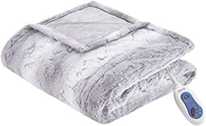 Beautyrest Zuri Oversized Faux Fur Heated Throw Grey 50x70