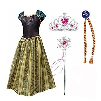 Frbelle® Vestido de Princesa con 3 Piezas de Peluca Tiara Diadema Varita Mágica Disfraz de