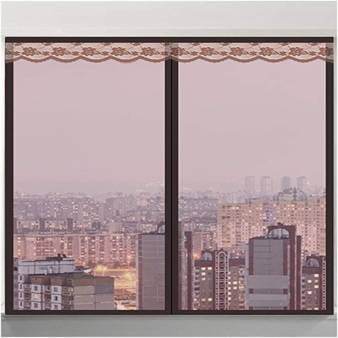 100cm VFEW Window Net Screen-Mesh Curtain Protector de Pantalla en Negro con Cintas Autoadhesivas,80