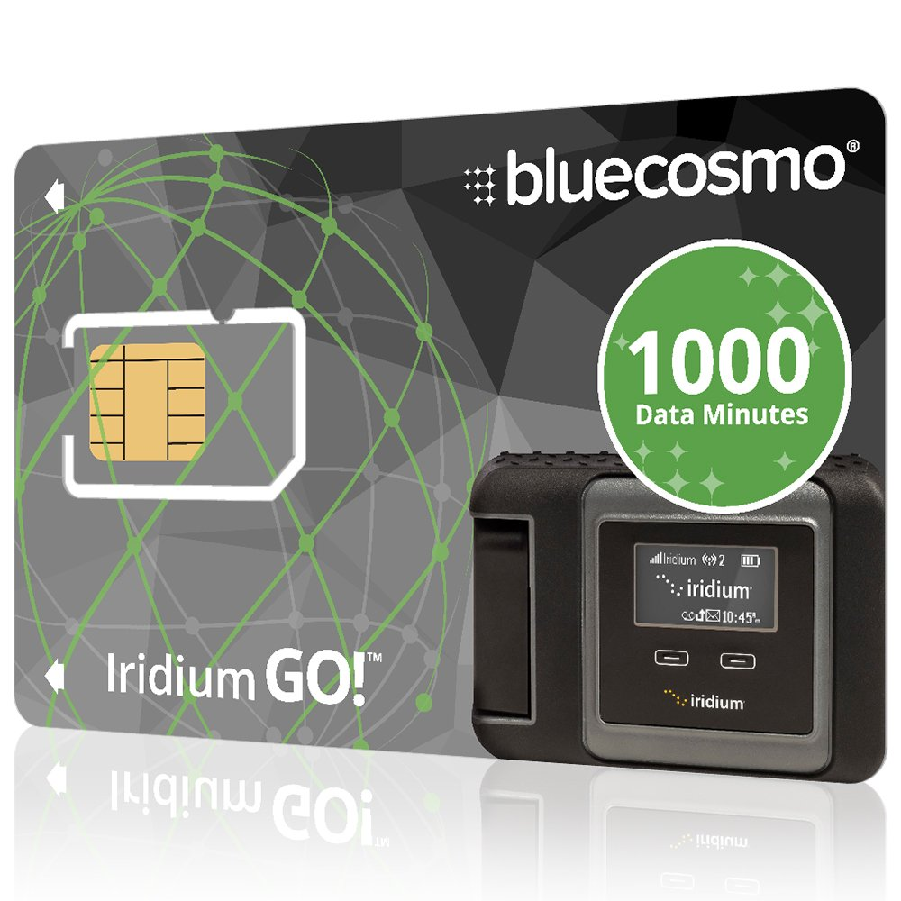 BlueCosmo Iridium GO! 1000 Data Minute Prepaid Global SIM Card - 12 Month Expiry - 1000 Data Minutes - 500 Voice Minutes - 3,000 SMS Text Messages - No Activation Fee - No Monthly Fee - Rollover by BlueCosmo