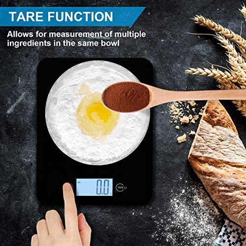 Digital Kitchen Scales, Food Scale for Baking, Tempered Glass Platform Electronic Weighing Cooking Scales with Backlit LCD Display for Home School Office Use