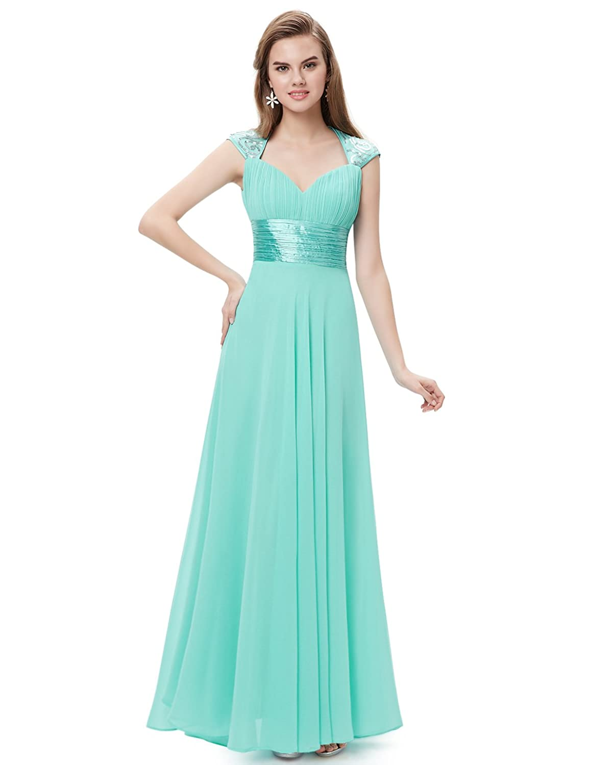 Ever-Pretty Chiffon Sexy V-neck Ruched Empire Line Evening Dress ...