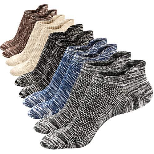 M&Z Mens Low Cut Cotton Casual Ankle Non-Slide Socks 5 Pack Basic