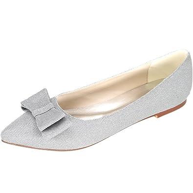 Silver Flats For Wedding   Amazon Com Loslandifen Women S Elegant Glitter Pionted Toe Wedding