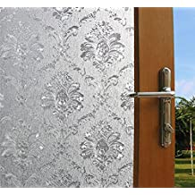 24 by 78.7In 3D Decorative Floral Pattern Non-Adhesive Frosted Privacy Etched Window Film (Lotus)