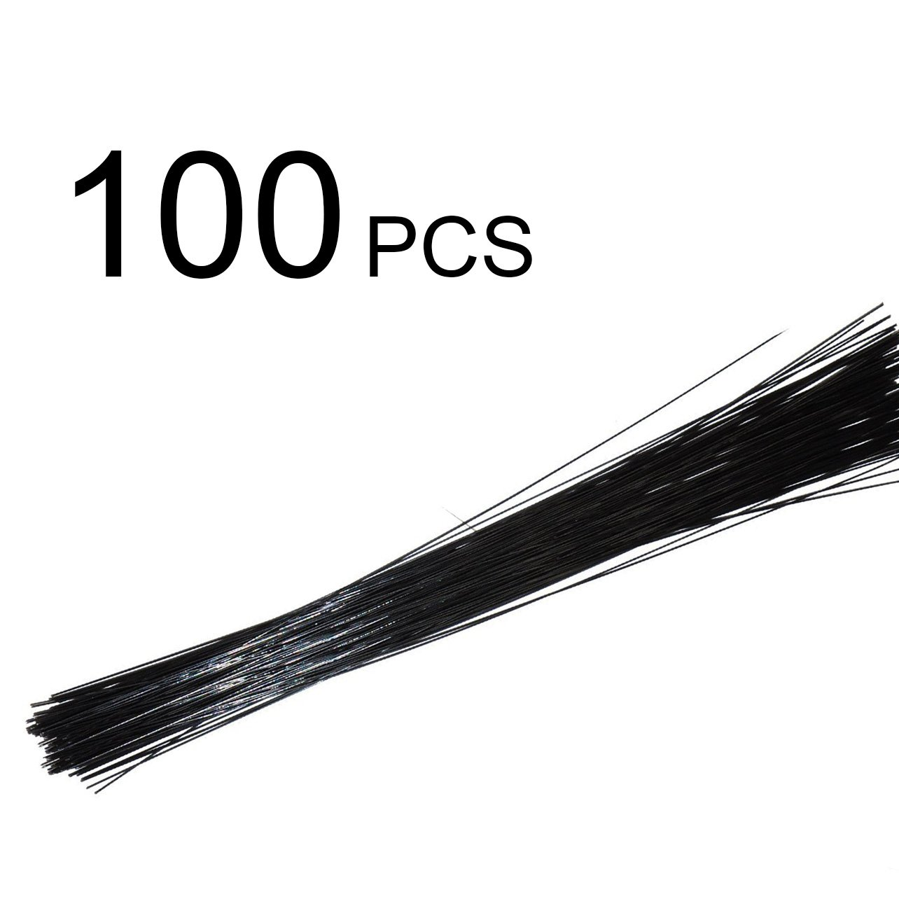 Conjugal Bliss 100PCS Floral Stem Wire Florist Stem Paddle Floral Wire Flower Paper Wrapped Wire For Flowers Packaging Flower Shop Decoration Iron Wire (0.04 inches, BLACK)