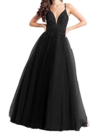 Liaoye Womens Straps V Neck Prom Dresses Lace Backless Evening Gowns Black 2
