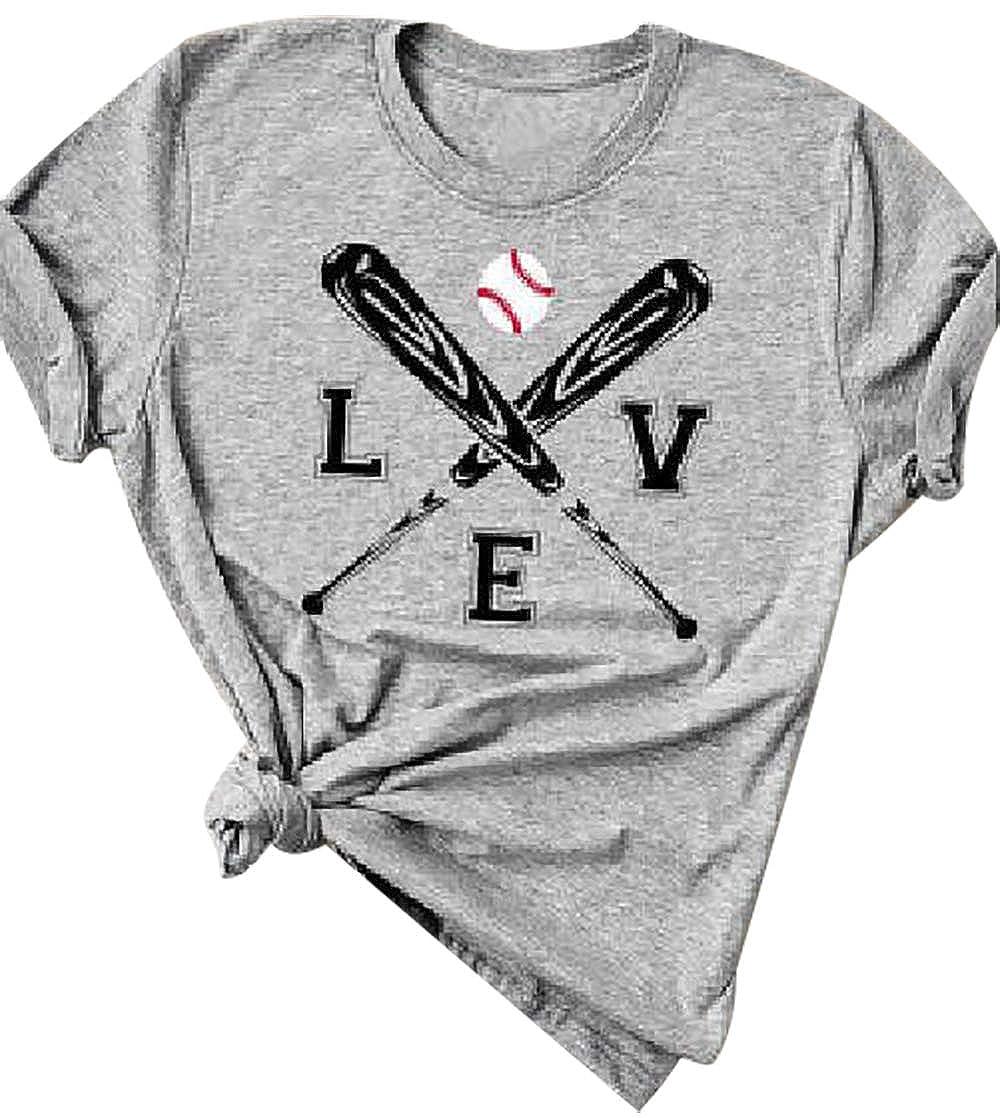 MYHALF Cute Graphic Tee Shirts for Women Teen Girls Baseball Heart Tee Shirts Tee Shirt Size S