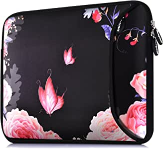 Sancyacc Laptop Sleeve, Sleeve Case Bag Cover for 15-15.6 Inch, Water-Resistant Neoprene Protective Case, Padded Protable Carrying Bag with Accessory Pocket for MacBook Pro 15/15 Touch Bar (FLYROSE)