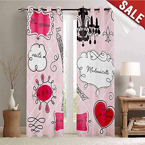 Teen Room, Blackout Window Curtain, Doodle Frames in French Style Rococo Baroque Lantern Mademoiselle Print, Customized Curtains, W108 x L108 Inch Hot Pink and Black