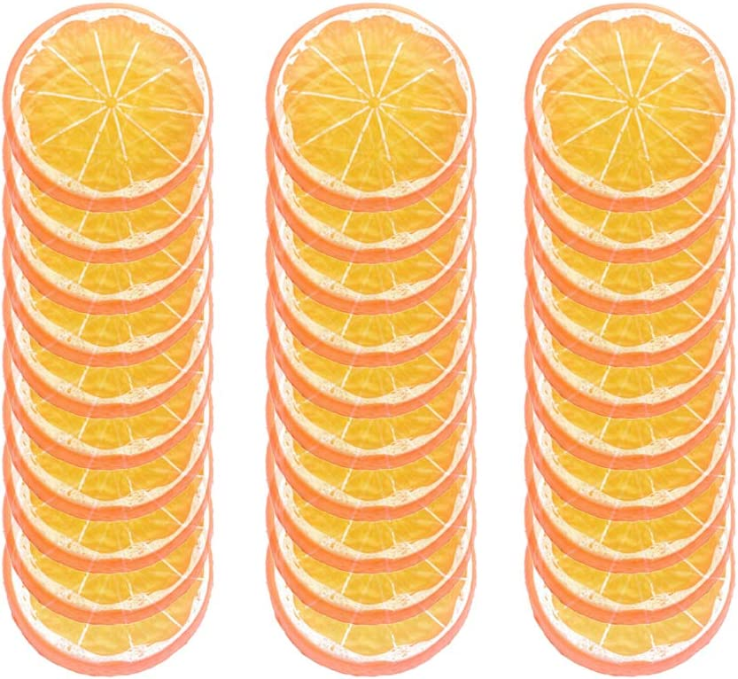 IETONE 30 Pieces Artificial Plastic Lemon Slices Realistic Simulation Lemon Lifelike Decorative Fake Fruit Wedding Ornament Festival Decoration Photography Props Basket Display Filler Fruit, Orange