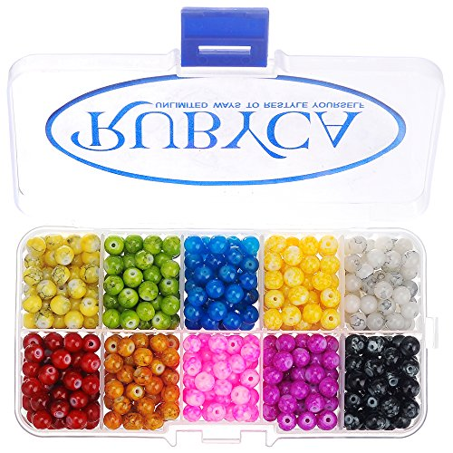RUBYCA Czech Glass Round Beads Kit for Jewelry Making w/ Container Box (600pcs 6mm Assorted Colors) (Bead Black And Glass White)