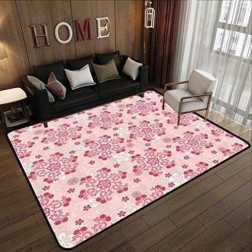 Kitchen Rugs,Floral,Cherry Blossom Figures Summer Petals Botany Branches Romance Pattern,Light Pink Dark Coral 59