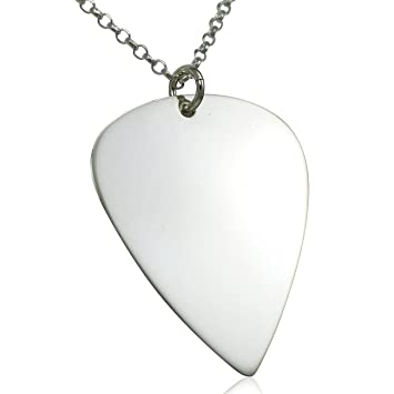 Solid sterling silver guitar pick pendant charm necklace chain solid sterling silver guitar pick pendant charm necklace chain aloadofball Choice Image