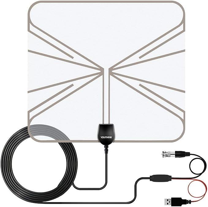 NoBrand - Antena de TV de 50 Miles con Amplificador de señal para Interior de televisión Digital HDTV 1080P HD 4K VHF UHF Home con Cable coaxial: Amazon.es: Electrónica