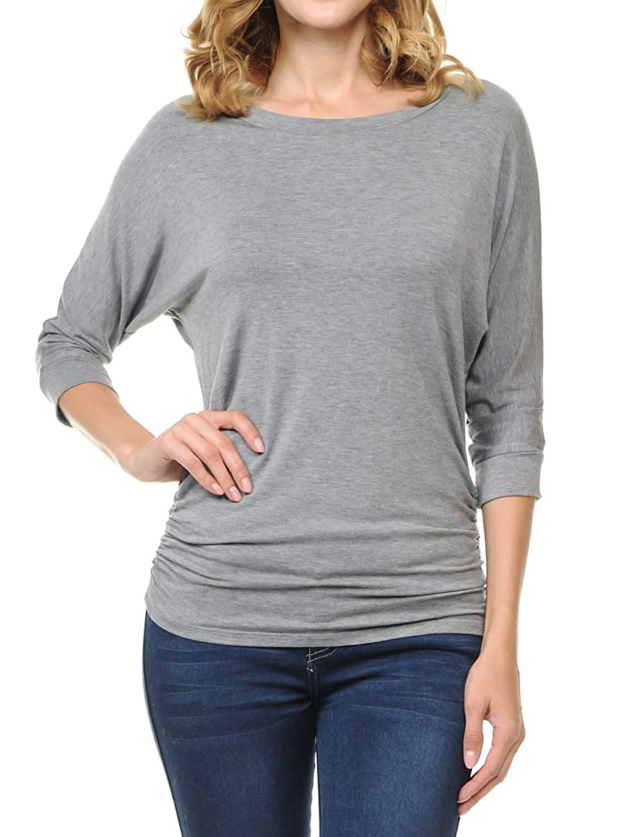 Dark H.grey Ephphatha Womens 3 4 Sleeve Drape Top with Side Shirring  Designed in USA (S3XL)