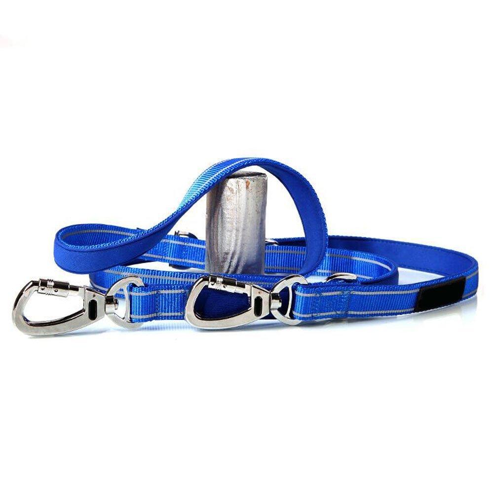 Cane piombo Guinzaglio per cani Catena in nylon Treccia riflettente Multifunzionale Sport all'aria aperta Morbido Comodo e resistente Multi colore Opzionale (Nero   Blu   Rosso) (colore  Nero, Taglia