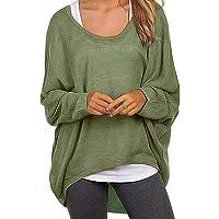 Meyison Damen Lose Asymmetrisch Sweatshirt Pullover Bluse Oberteile Oversized Tshirt Strickpullover