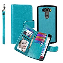 Wallet Case for LG G3, xhorizon TM SR Premium Leather Folio Case Wallet Magnetic Detachable Purse Multiple Card Slots Case Cover for LG G3 - Blue