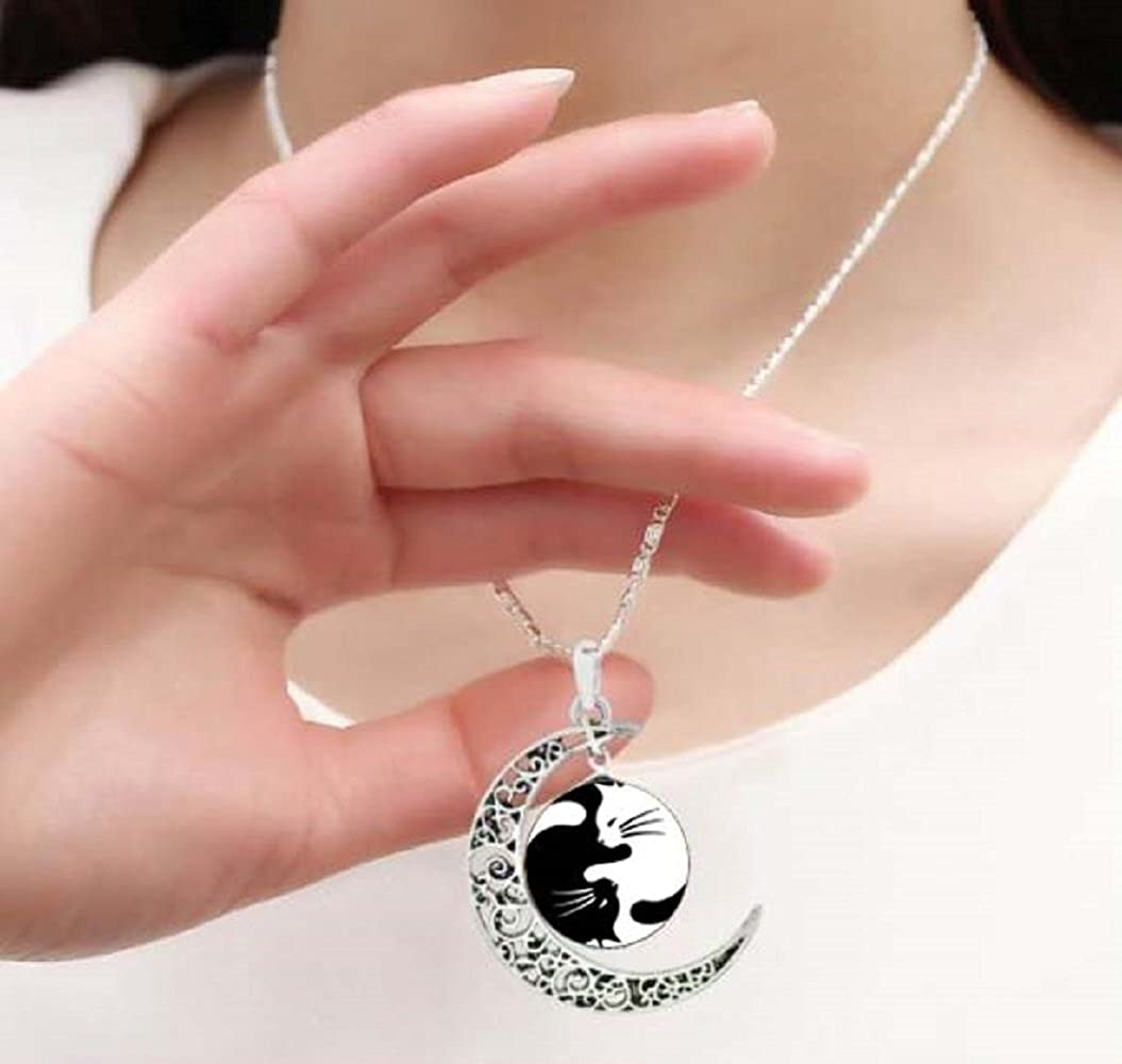 Gemingo Unique Handmade Cats Yin Yang Necklace Crescent Moon Sterling Moon Pendant Jewelry