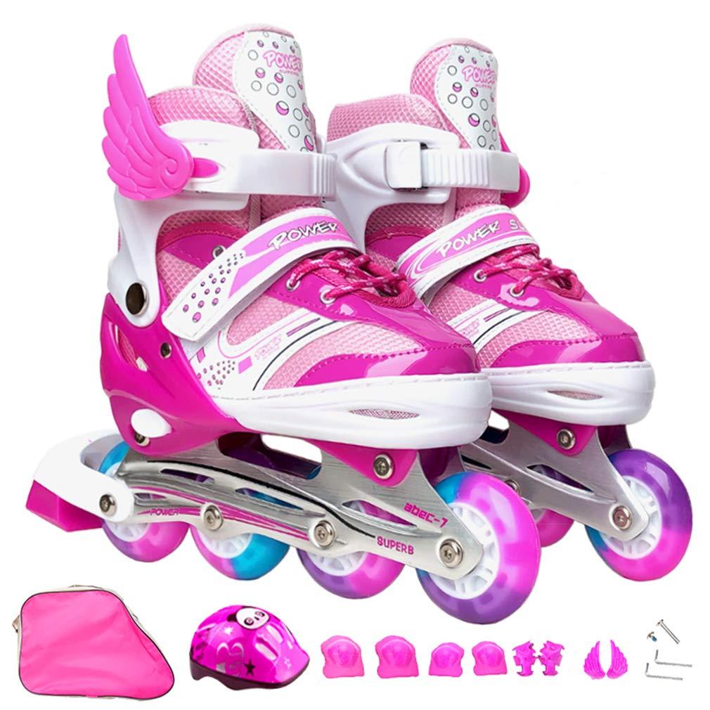 DUBAOBAO Zapatillas de Skate para niños, Patines de Ruedas para niños y niñas, tamaño Ajustable, Casco Gratis + Equipo Protector + Mochila + Accesorios,Pink ...