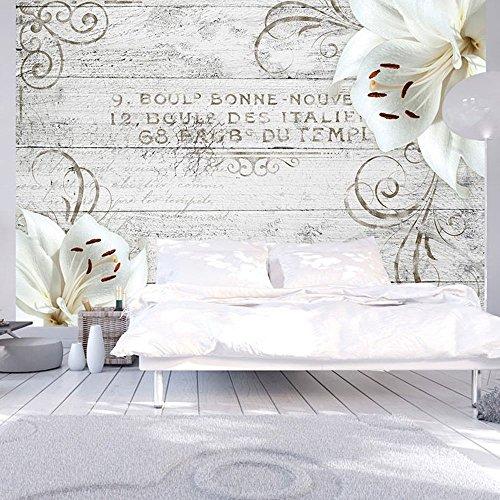Vlies Fototapete 400x280 cm - 3 Farben zur Auswahl - Top - Tapete - Wandbilder XXL - Wandbild - Bild - Fototapeten - Tapeten - Wandtapete - Wand - Holz Blumen b-A-0170-a-b