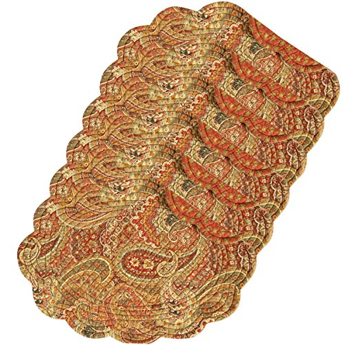 C&F Home Tangiers Orange Paisley Oval Quilted Reversible Cotton Quilted Reversible Placemat Set of 6 Oval Placemat Set of 6 -